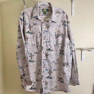Cabelas Chamois Flannel Shirt Duck Bird Size 2XLT